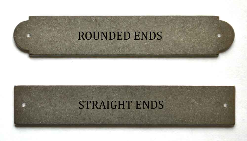 Rounded ended (antique traditional) compared to straight ended (modern) artists name plate tablets
